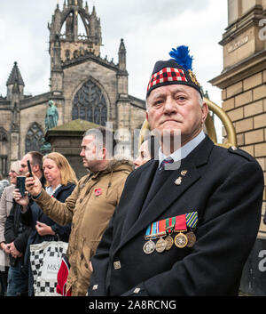 Edinburgh, Scotland, UK. 10th Nov 2019. The annual service at the Stone of Remembrance on the Royal Mile, Edinburgh, Scotland - Stock Photo