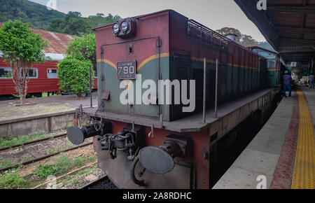 ELLA/ DEMODARA, SRI-LANKA: AUGUST 08/ 2019: The local train at the railway station in the Badulla city. This station is the end of the travel route fo - Stock Photo