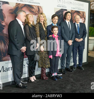 New York, NY - November 10, 2019: Cast and crew attend premiere of Marriage Story at Paris Theater - Stock Photo