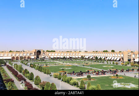 Grand bazaar on Naqsh-e Jahan Square (Shah Square, Imam Square), second biggest place of the world, Isfahan, Iran. View from Ali Qapu Palace. UNESCO w - Stock Photo