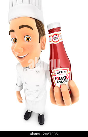 3d head chef holding tomato sauce bottle, illustration with isolated white background - Stock Photo