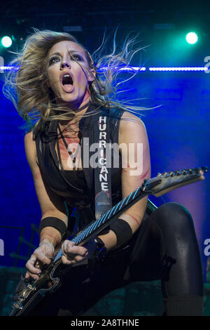 LONDON, ENGLAND: Alice Cooper performs at The O2 Arena Featuring: Nita Strauss Where: London, United Kingdom When: 10 Oct 2019 Credit: Neil Lupin/WENN - Stock Photo