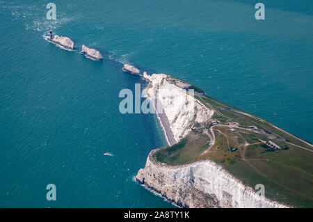 The Needles, Isle of Wight (aerial photo) - Stock Photo