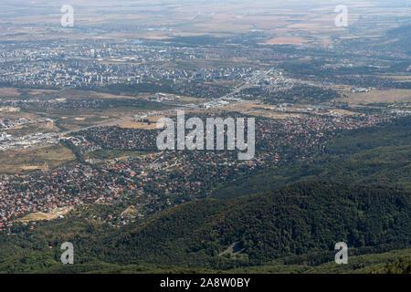 Amazing panorama of city of Sofia from Kamen Del Peak at Vitosha Mountain, Bulgaria - Stock Photo