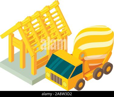 Concreting works icon, isometric style - Stock Photo