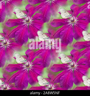 White butterfly sitting on purple clematis flower on green bokeh background. Seamless texture. - Stock Photo