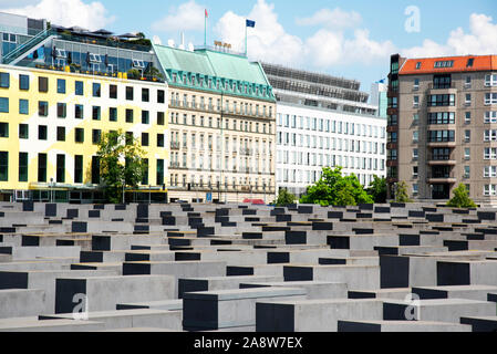 BERLIN, GERMANY - MAY 26, 2018: A view over the Memorial to the Murdered Jews of Europe, also known as Holocaust Memorial, in Berlin, Germany - Stock Photo