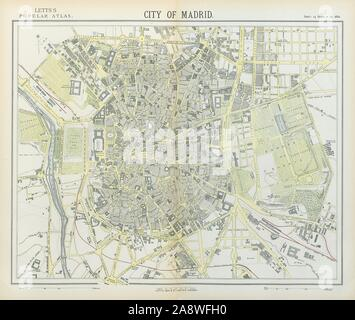 MADRID antique town city map plan. Railways. LETTS 1883 old chart - Stock Photo