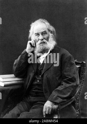 Vintage portrait photo of American poet, essayist and journalist Walt Whitman (1819 – 1892). Photo circa 1880. - Stock Photo