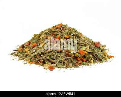 Pile of a chopped, mixed herbs isolated on white background with copy space for text or images. Spices. Food, cooking, restaurant, packaging concept. - Stock Photo