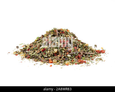 Pile of some chopped, mixed herbs isolated on white background with copy space for text or images. Spices. Food, cooking, restaurant, packaging concep - Stock Photo