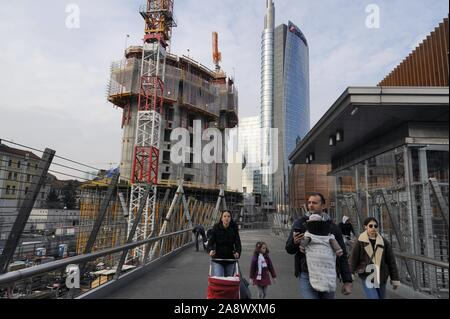 Milan (Italy), construction site for the new Unipol building and Unicredit tower in the Porta Nuova district - Stock Photo