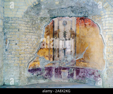 Frescos in the houses that were found after volcanic flow in 79AD Herculaneum Ercolana Campania Italy - Stock Photo