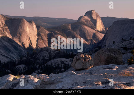 Half-dome from Olmstead Point in Yosemite National Park, California, USA - Stock Photo