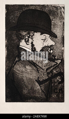 Henri de Toulouse-Lautrec, 1864 - 1901, by French artist Charles Maurin, 1856 - 1914.  The two artists were friends. - Stock Photo