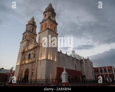 Cathedral in San Francisco de Campeche city in Mexico - Stock Photo