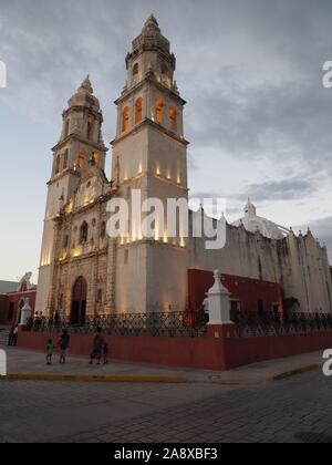Cathedral in San Francisco de Campeche city in Mexico - vertical - Stock Photo