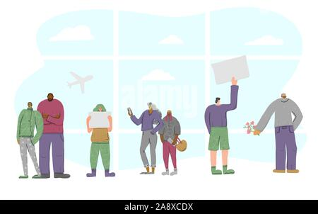 People are going to meet someone  in the arrivals hall of the airport. Differnt character standing with a tablet with a copy space for text. Vector fl - Stock Photo
