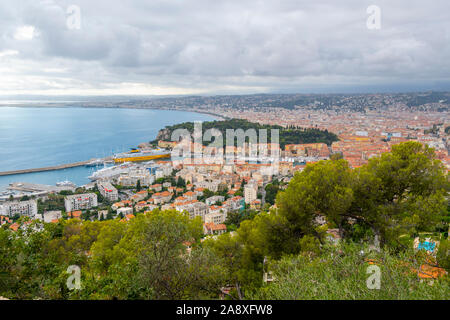 View from the Mont Boron lookout over the old city, Mediterranean Sea, port and Castle Hill on the Riviera coast of Southern France - Stock Photo