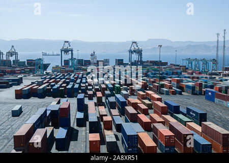 Aqaba, Jordan, April 27, 2009: Containers at the port of Aqaba in Jordan. - Stock Photo