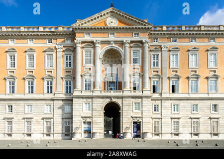 Entrance of the The Royal Palace of Caserta, built in 18th century and former residence of Bourbon kings, Italy - Stock Photo