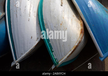 Hulls of old fishing boats, Ile D'|Oleron France - Stock Photo