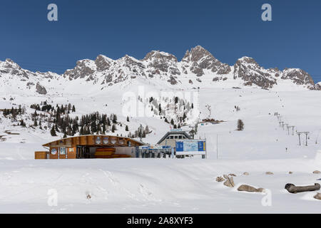 San Pellegrino ski resort in the Dolomites, Italy - Stock Photo