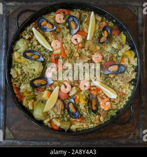Paella made in the Netherlands. Originally a Spanish dish Stock Photo