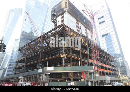 New York, New Yotk, USA. 1st Jan, 2000. A construction site at 50 Hudson Yards is shown in New York. Earlier four construction workers at the site suffered minor injuries from a scaffolding collapse and were taken to NYC Health   Hospitals/Bellevue and St. Luke's-Roosevelt Hospital Center, officials said. Credit: Brian Branch Price/ZUMA Wire/Alamy Live News - Stock Photo