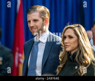 New York, USA,   11 November 2019. Eric Trump, son of US President Donald Trump, arrives with his wife Lara Trump to attend the Veterans Day Parade in New York City.  Credit: Enrique Shore/Alamy Live News - Stock Photo