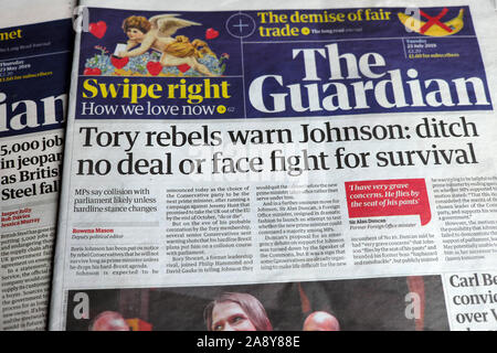 'Tory rebels warn Johnson: ditch no deal or face fight for survival' newspaper headline in the Guardian London England 23 July 2019 UK - Stock Photo