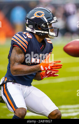 Chicago, Illinois, USA. 10th Nov, 2019. - Bears #18 Taylor Gabriel in action before the NFL Game between the Detroit Lions and Chicago Bears at Soldier Field in Chicago, IL. Photographer: Mike Wulf. Credit: csm/Alamy Live News - Stock Photo