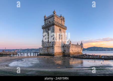 Belem Tower, Ponte 25 de Abril, Lisbon, Portugal, Europe - Stock Photo