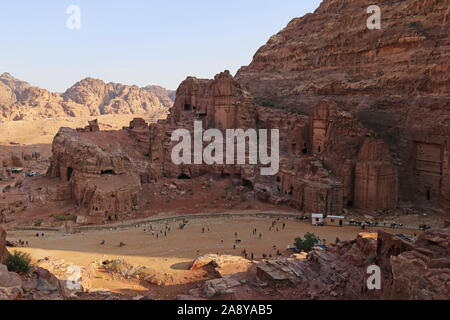Aneisho and Uneishu Tombs from High Place of Sacrifice Trail, Petra, Wadi Musa, Ma'an Governorate, Jordan, Middle East - Stock Photo