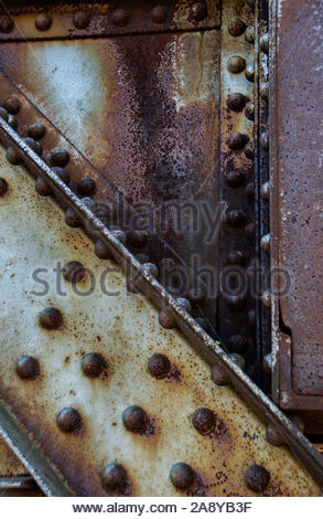 Old abandoned rusty railway bridge girders Peterborough Ontario Canada - Stock Photo