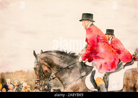 Watercolor painting of two horse riders in red uniforms and top hats during a fox hunt. Equestrian riding sport in a public park. - Stock Photo