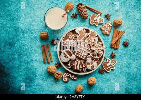 Sweet Christmas composition. Assortment of gingerbread cookies on a plate - Stock Photo