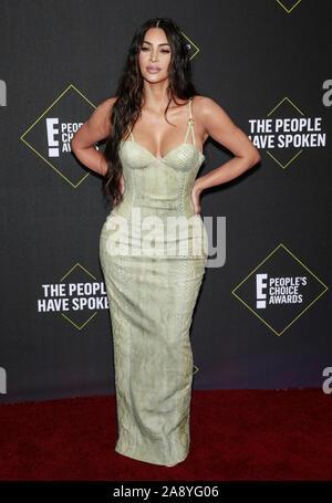 Santa Monica, CA, USA - Nov 10, 2019: Kim Kardashian attends 45th Annual People's Choice Awards at The Barker Hanger - Stock Photo