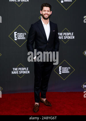 Santa Monica, CA, USA - Nov 10, 2019: Hunter March attends 45th Annual People's Choice Awards at The Barker Hanger - Stock Photo
