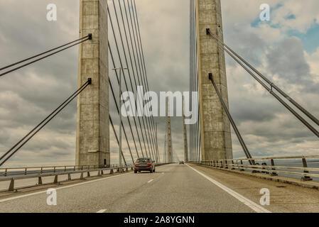Car driving over the Øresundsbron, the bridge between Sweden and Denmark, November 12, 2019 - Stock Photo