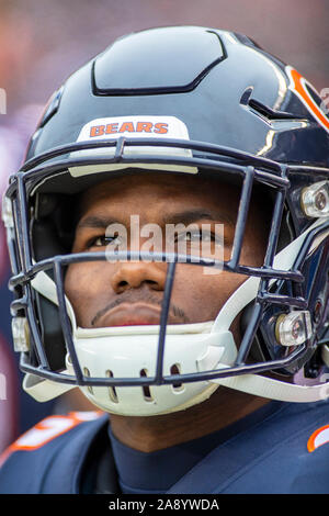 Chicago, Illinois, USA. 10th Nov, 2019. - Bears #29 Tarik Cohen on the sidelines before the NFL Game between the Detroit Lions and Chicago Bears at Soldier Field in Chicago, IL. Photographer: Mike Wulf. Credit: csm/Alamy Live News - Stock Photo