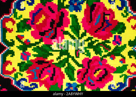 Fragment of Romanian folk seamless patterns. Romanian traditional embroidery. Ethnic texture design. Traditional carpet design. Rustic carpet design a - Stock Photo