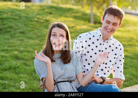 Couple lover enjoy honeymoon and long vacation, together relax and confortable, valentine occasion. Girl and guy spend time together in park. Lovers e - Stock Photo