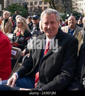 New York, NY - November 11, 2019: New York City Mayor Bill de Blasio attends Veterans Day Parade's opening ceremony at Madison Square Park - Stock Photo