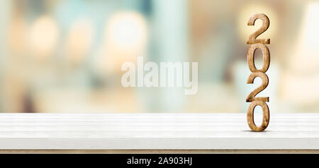 New year 2020 (3d rendering) on white wooden table at blur abstract bokeh light background,Mock up banner space for display or montage of product,holi - Stock Photo