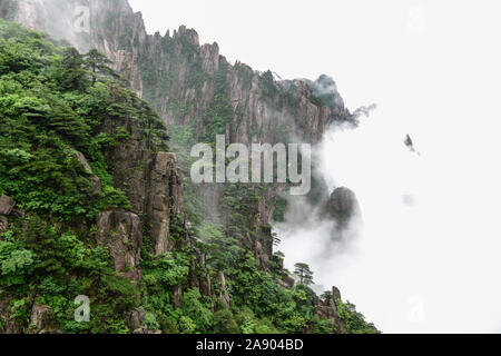 Yellow Mountains.Mount Huangshan.A mountain range in southern Anhui province in eastern China. - Stock Photo