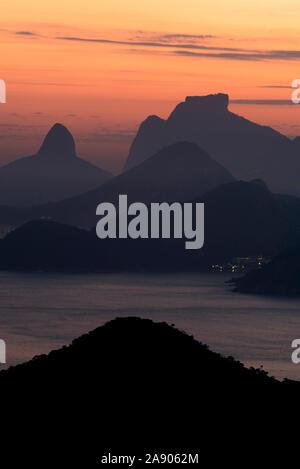 Landscape photograph of Rio de Janeiro showing Pedra da Gavea, Brazil.