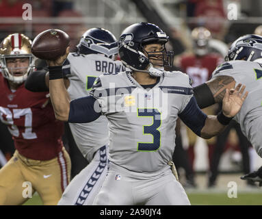Santa Clara, California, USA . 11th Nov, 2019. Seattle Seahawks quarterback Russell Wilson (3) passes in the first quarter against the San Francisco 49ers at Levi's Stadium in Santa  Clara, California on Monday, November 11, 2019. The Seahawks defreated the 49ers 27-24 in overtime.    Photo by Terry Schmitt/UPI Credit: UPI/Alamy Live News - Stock Photo