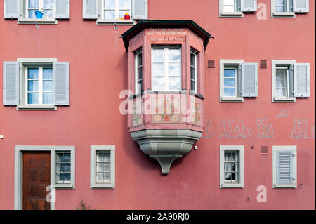 Historic medieval building with decorated bay windows at Rathausplatz, a town square in old small city of Stein Am Rhein, Switzerland. - Stock Photo