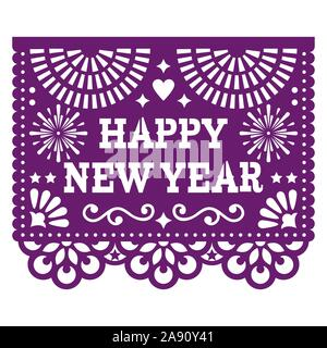 Happy New year Papel Picado vector design with, Mexican paper cut out style purple greeting card on white - Stock Photo